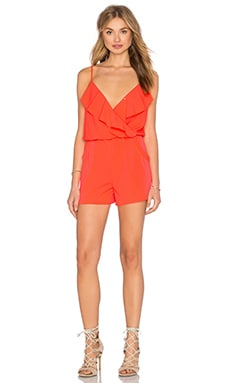 Flounce Romper in Flash Coral