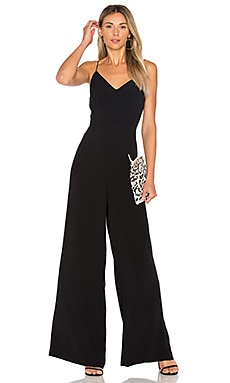 Lace Up Back Jumpsuit in Rich Black