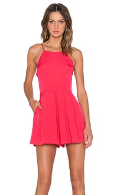 Pleat Front High Neck Romper en Rouge