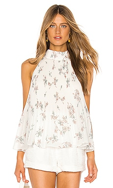 Halter Tie Pleated Floral Belle Blouse 1. STATE $89