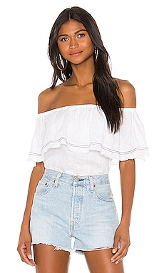 Off the Shoulder Flounce Edge Blouse 1. STATE $51