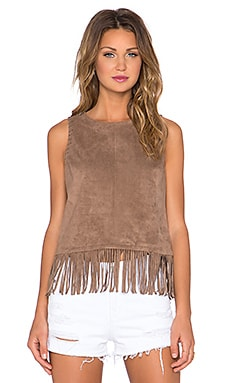1. STATE Fringe Hem Faux Suede Tank Top in Shadow Brown