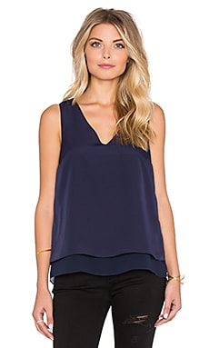 1. STATE Short Sleeve Double Layer Tank with Chiffon in Nightshade