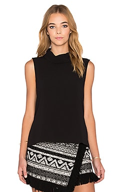 1. STATE Mock Neck Shaped Top in Rich Black