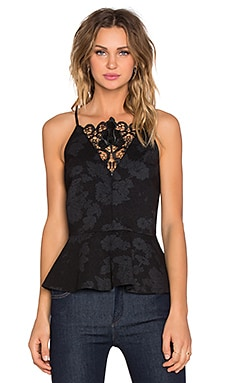Racerback Peplum Tank with Leather Lace in Rich Black