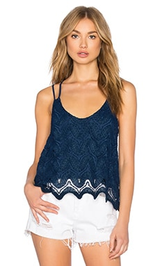Double Strap Lace Tank in Military Navy