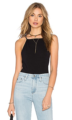 1. STATE Halter Neckline Bodysuit in Rich Black