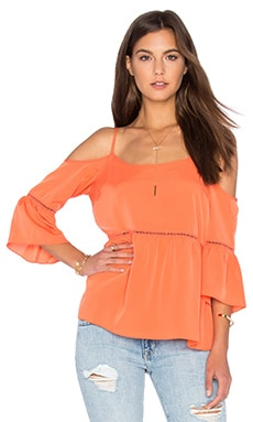 1. STATE Cold Shoulder Peasant Top in Cactus Coral