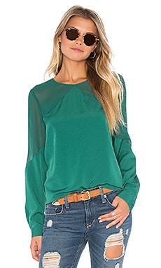 Long Sleeve Sheer Yoke Blouse in Dark Evergreen