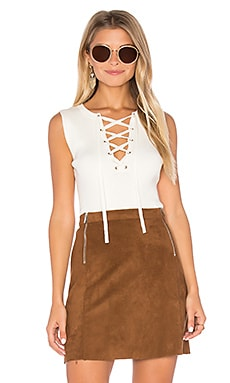 Sleeveless Lace Up Sweater in Chalk