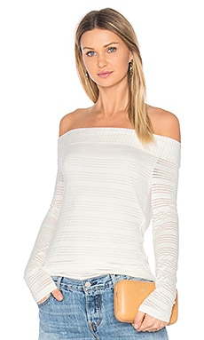 Off Shoulder Stripe Tee in New Ivory