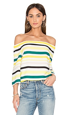 Cold Shoulder Striped Top en Citronella
