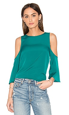 Cold Shoulder Flounce Top in Green Clover