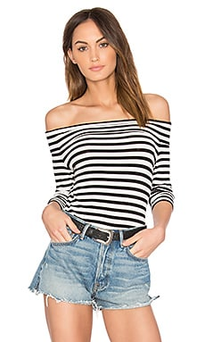 Off Shoulder Striped Top in Rich Black