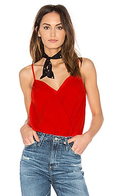 Camisole Wrap Front Bodysuit in Poppy Red