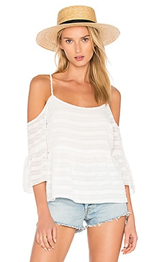 Cold Shoulder Ruffle Sleeve Blouse in Cloud