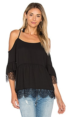 Cold Shoulder Top with Lace Trim in Rich Black
