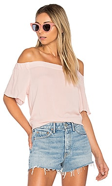 Off Shoulder Flounce Sleeve Top in Rosy Flush