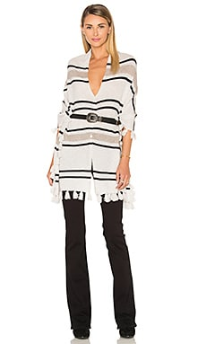 Chumash Stripe Poncho in Feather Combo