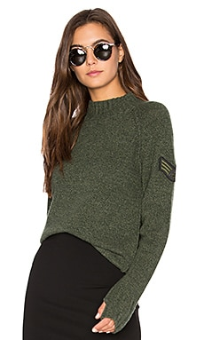 Francoise Mock Neck Sweater in Army-Style