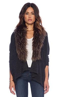 Danica Faux Fur Cardigan in Shadow & Driftwood