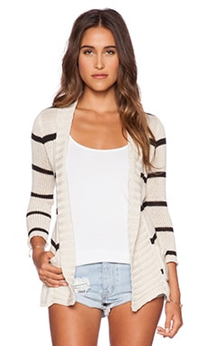 27 miles malibu Trinity Belted Cardigan in Ivory & Black