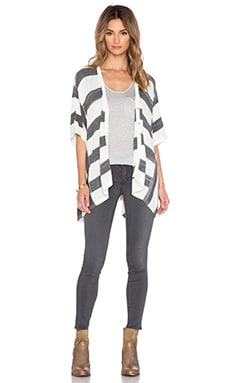 27 miles malibu Ceci Oversized Cardigan in Charcoal Stripe