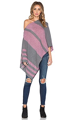27 miles malibu Chumash Stripe Poncho in Steel & Berry