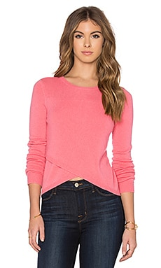 Twiggy Cross Front Crop Sweater in Peach