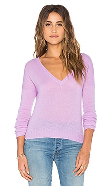 27 miles malibu Elle V Neck Crop Sweater in Violet
