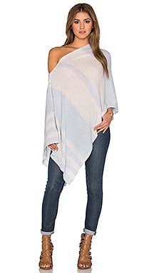 Chumash Stripe Poncho in Skylight & Birch