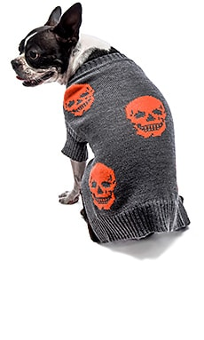 360 Sweater Skull Dog Mini Luthor in Heather Grey & Electric Orange