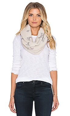 360 Sweater Infinity Scarf in Latte & Mid Heather Grey Print