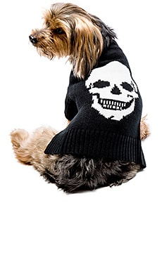 360 Sweater Skull Dog Sweater in Black & Ivory Skull