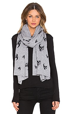 360 Sweater Multi Dexter Scarf in Mid Heather Grey & Black Print