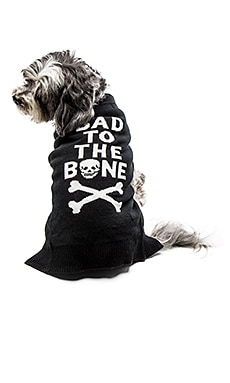 Bad To The Bone Dog Sweater em Black & White Skull