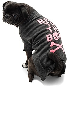 Bad To The Bone Dog Sweater in Charcoal & Pink Skull