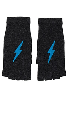Tahlia Cashmere Gloves in Cinder & Mykonos Lightning Bolt