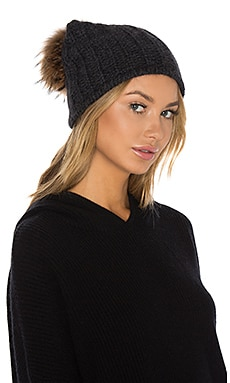 Haven Cashmere Asiatic Raccoon Fur Beanie in Charcoal