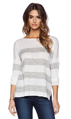 360 Sweater Madison Sweater in White & Heather Grey