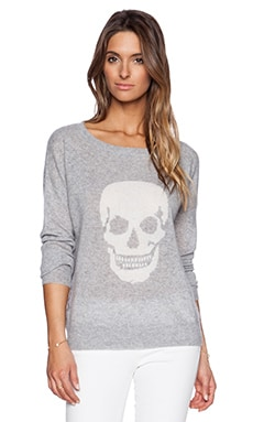 360 Sweater Luthor Long Sleeve Sweater in Heather Grey & Ivory Skull