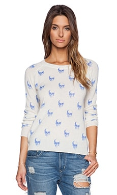 360 Sweater Jack Raglan Sweater in Ivory & Capri Blue Print