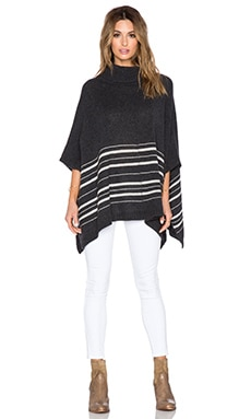 360 Sweater Ornelia Poncho in Charcoal & Latte