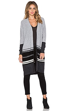 360 Sweater Gabrianna Cardigan in Mid Heather Grey & Charcoal