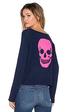 360 Sweater Riffraff Skull Sweater in Ink & Dayglo Luther