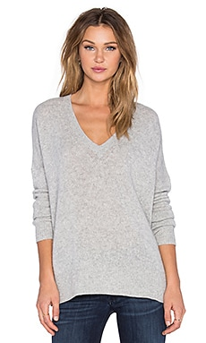 360 Sweater Rosemead V Neck Sweater in Light Heather Grey