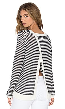 360 Sweater Drury Cross Back Sweater in White & Navy Stripe
