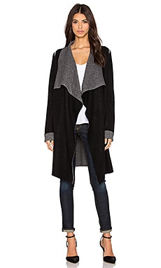 360 Sweater Bedford Cardigan in Black & Heather Grey