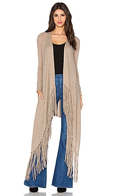 Rocky Barnes for 360 Sweater Waikiki Fringe Cardigan in Cafe Au Lait