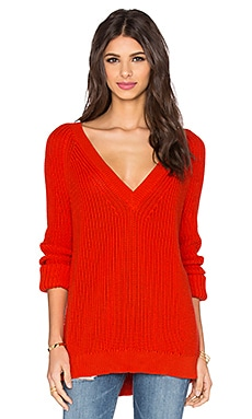 Rocky Barnes for 360 Sweater Montauk V Neck Sweater in Lipstick